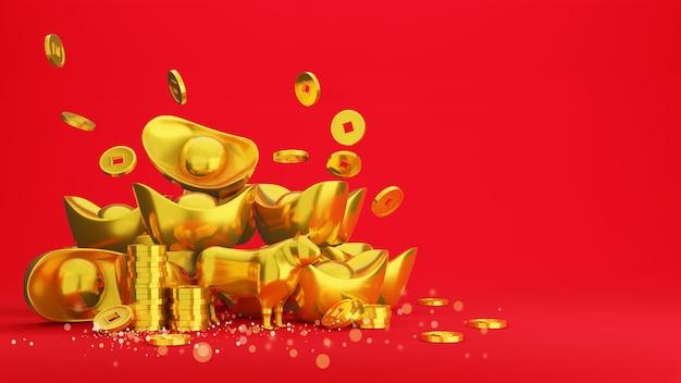 Pièces d'or et lingot d'or chinois sur rouge