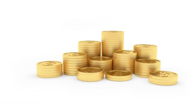 Pièces d'or en piles