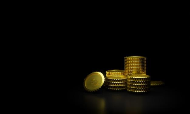 Pièces d'or en rendu 3d sur fond noir