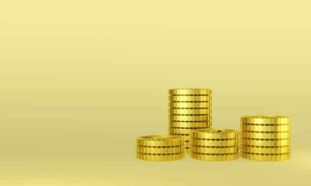 Pièces d'or en rendu 3d. profit d'argent.