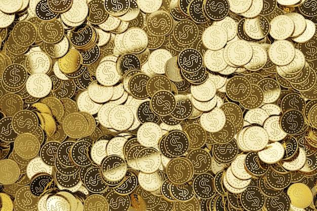 Pièces d'or avec symbole dollar