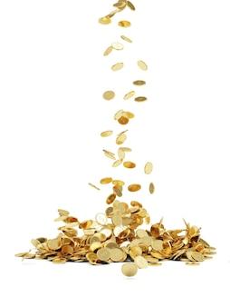 Pièces d'or tombant