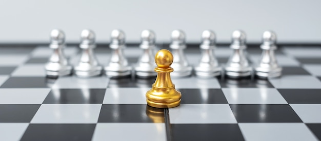 Des pièces de pion d'échecs en or ou un homme d'affaires leader se démarquent de la foule des hommes d'argent. concept de leadership, d'entreprise, d'équipe, de travail d'équipe et de gestion des ressources humaines