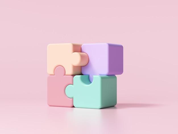 Pièces de puzzle sur rose