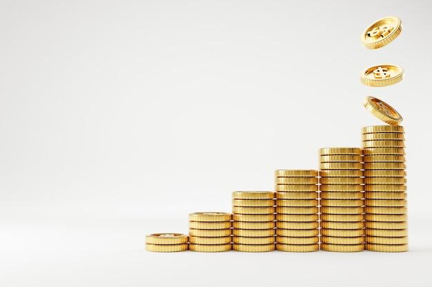Pièces réalistes en dollars américains empilant et tombant pour augmenter sur fond blanc, concept d'économie d'argent et de profit commercial par technique de rendu 3d.
