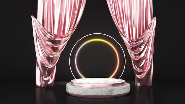 Piédestal blanc sur fond noir avec des rideaux en or rose, un podium en or rose