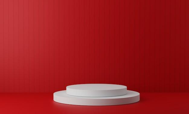 Piédestal blanc pour l'affichage. support de produit vide avec forme géométrique. rendu 3d.