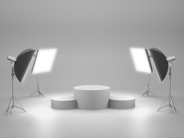 Piédestal blanc pour exposition de produits avec caisson lumineux dans la salle de studio. rendu 3d