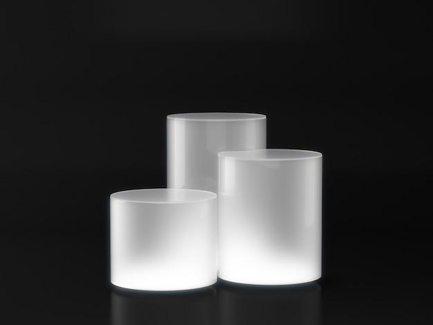 Piédestal blanc pour vitrine de produit avec une lumière blanche sur fond sombre.
