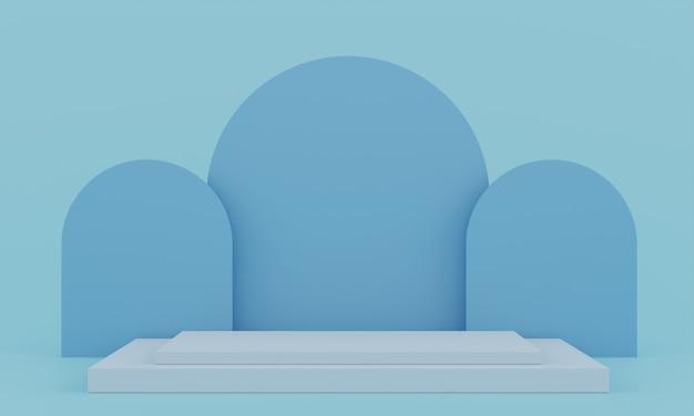Piédestal bleu pastel pour l'affichage. support de produit vide avec forme géométrique. rendu 3d.
