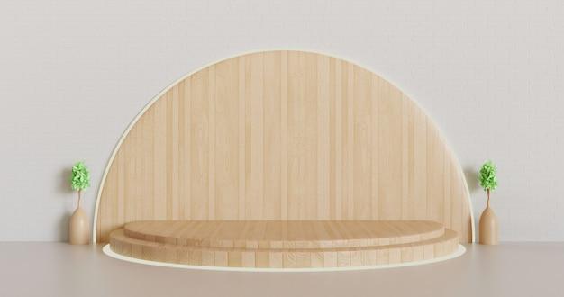 Piédestal en bois moderne ou fond de vitrine de scène, podium rendu 3d minimaliste avec vase végétal
