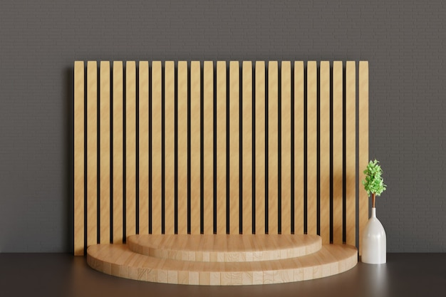 Piédestal en bois simple ou fond de scène, podium en rendu 3d pour la vitrine du produit