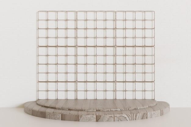 Piédestal en bois simple ou fond de vitrine de scène, podium en rendu 3d