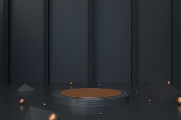 Piédestal de cercle noir de rendu 3d