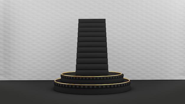 Piédestal avec des escaliers sur une surface blanche