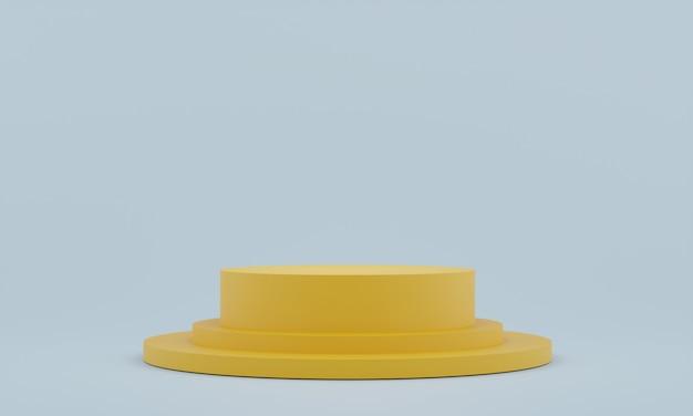 Piédestal jaune pour l'affichage. support de produit vide avec forme géométrique. rendu 3d.