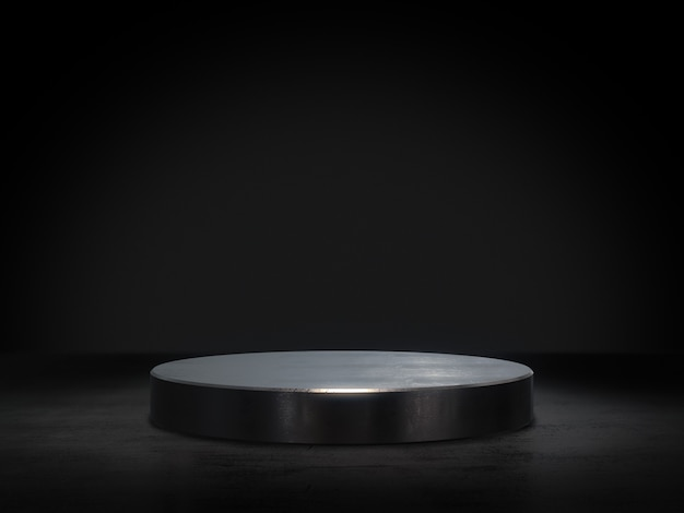 Piédestal en métal pour l'affichage, plate-forme pour la conception, support de produit vierge rendu 3d.