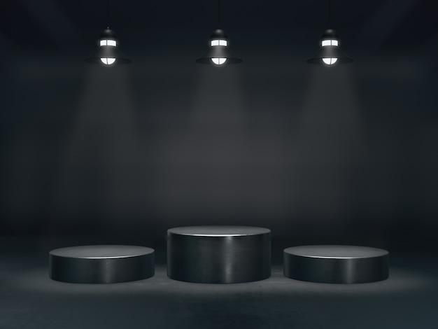 Piédestal pour l'affichage, plate-forme pour la conception, support de produit vierge avec spot lumineux de la lampe, rendu 3d.