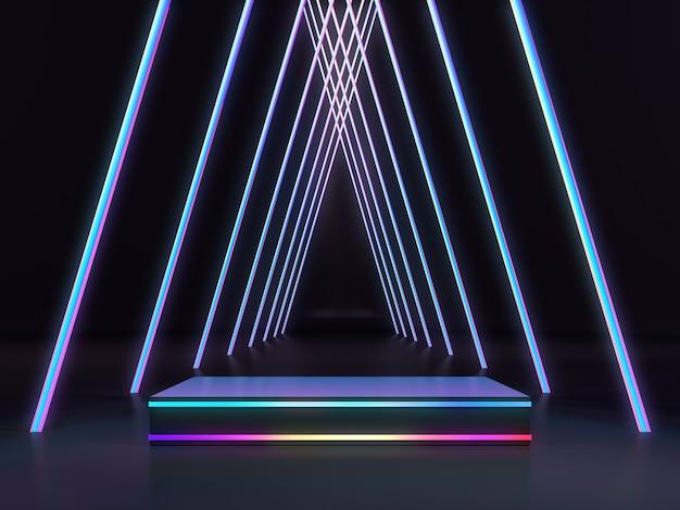 Piédestal pour vitrine de produits avec une lueur colorée dans une pièce sombre