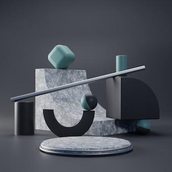 Piédestal réaliste concret de rendu 3d avec concept abstrait géométrique
