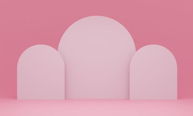 Piédestal rose pastel pour l'affichage. support de produit vide avec forme géométrique. rendu 3d.