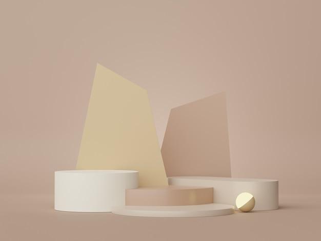 Piédestal de scène de plates-formes vides 3d et devanture pour une maquette d'espace vide pour l'affichage des produits