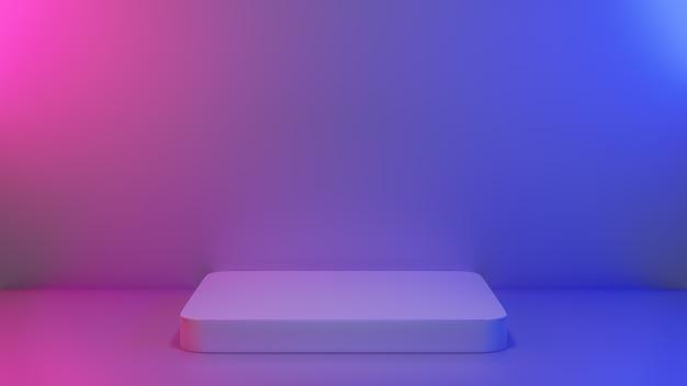 Piédestal vide abstrait en scène de lumière vibrante bleu-rose pour le contenu actuel de la maquette du produit de la bannière publicitaire