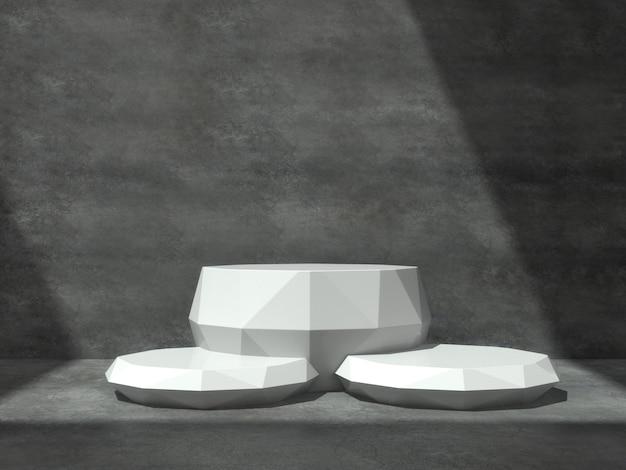 Piédestaux blancs pour exposition de produits dans une salle en béton