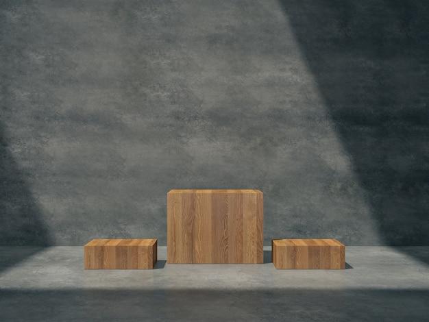 Piédestaux en bois pour exposition de produits dans une salle en béton