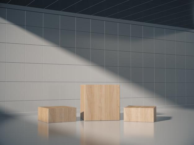 Piédestaux en bois pour exposition de produits en salle blanche