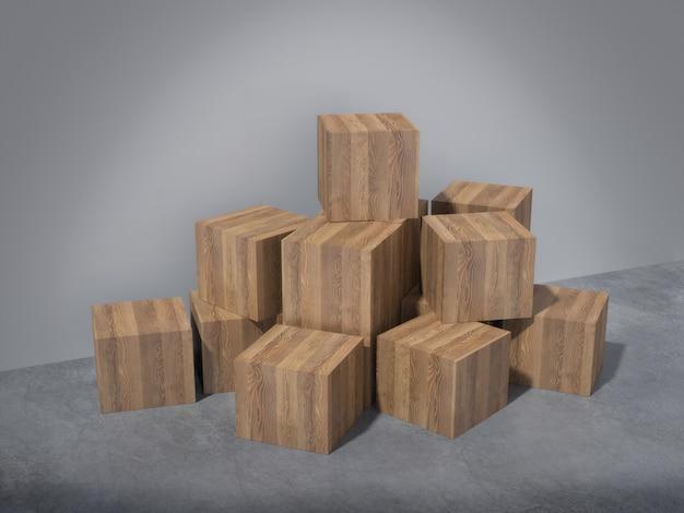 Piédestaux en bois pour le produit montrant dans une pièce vide