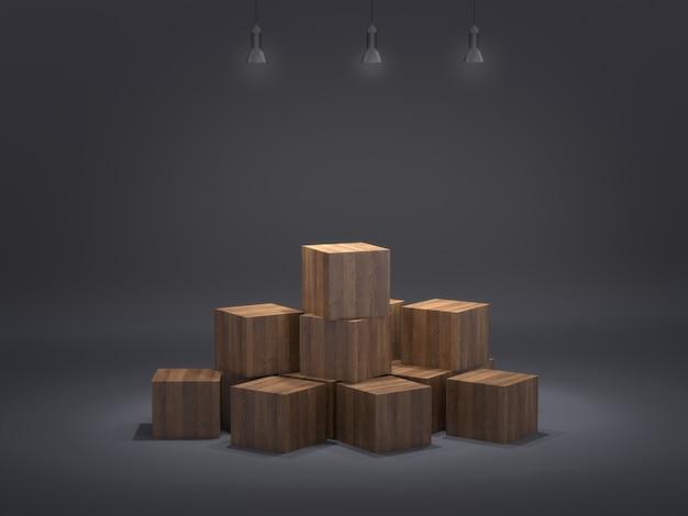 Piédestaux en bois pour produit montrant sur fond propre