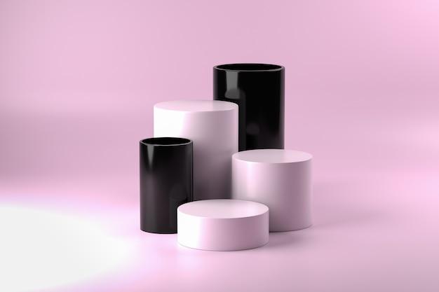 Piédestaux de cylindre noir et blanc sur surface rose