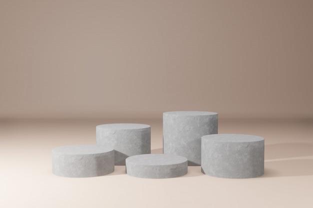 Piédestaux gris sur fond beige