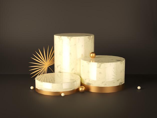 Piédestaux en marbre avec ornements dorés