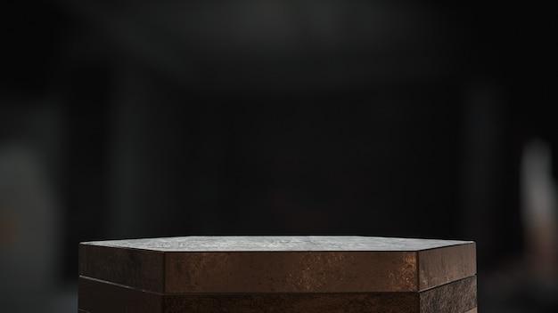 Piédestaux en métal pour exposition de produits dans une pièce sombre