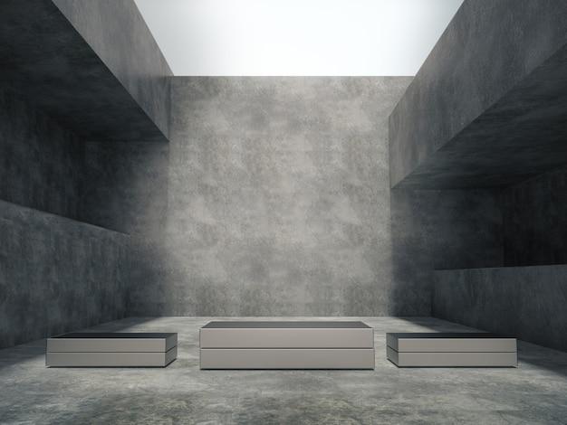 Piédestaux métalliques dans la salle de ciment