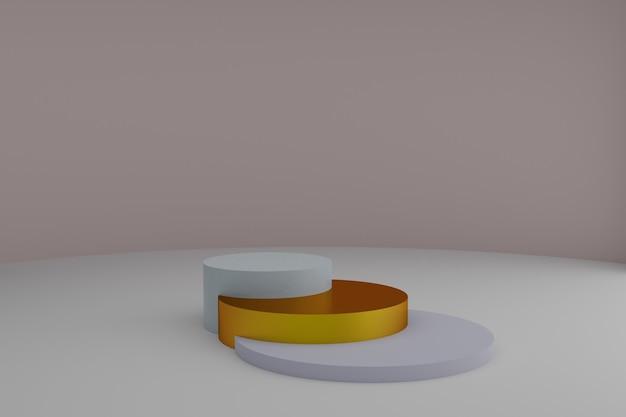Piédestaux ronds 3d vides pour la présentation de produits cosmétiques sur fond gris