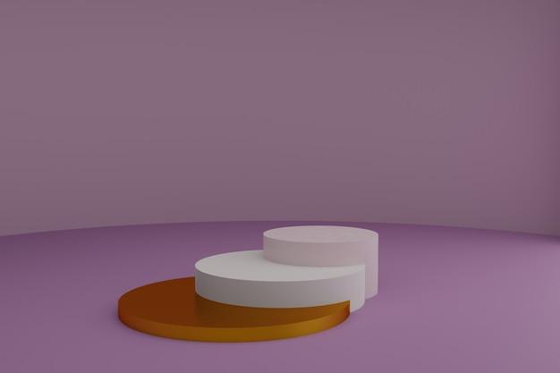 Piédestaux ronds 3d vides pour la présentation de produits cosmétiques maquette de vitrine vierge