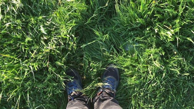 Pieds dans les chaussures sur la vue de dessus de l'herbe verte du printemps