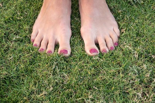 Pieds féminins sur l'herbe libre
