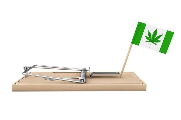 Piège à souris en bois avec drapeau et marijuana médicale ou feuille de chanvre de cannabis signe sur fond blanc. rendu 3d