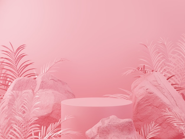 Pierre géométrique de couleur rose et affichage de podium de maquette minimaliste
