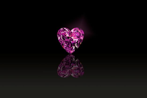 La pierre précieuse rose est un beau coeur