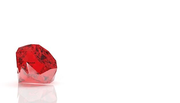 Pierre précieuse rouge sur fond blanc, rendu 3d