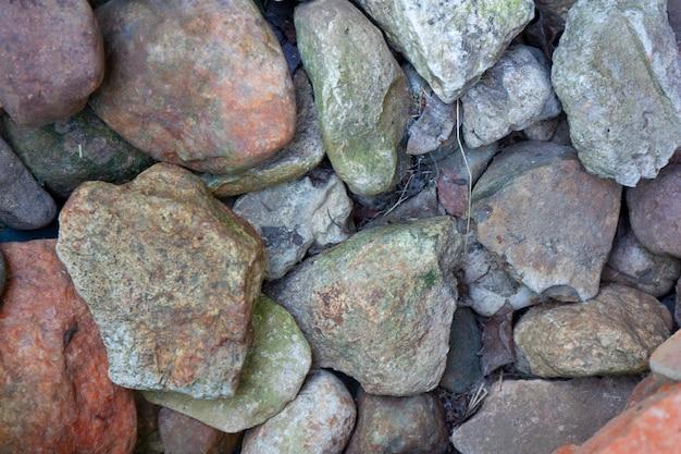 Pierres colorées backgroung texture rocks closeup vue de dessus