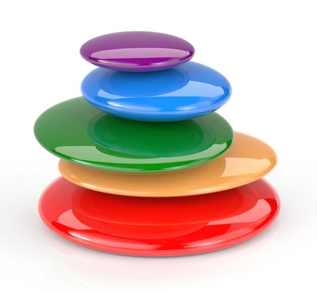 Pierres colorées de massage empilées sur fond blanc. rendu 3d