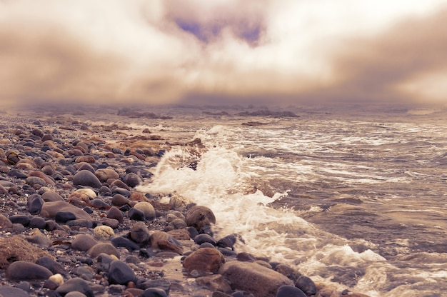 Pierres sur l'océan atlantique. vue sur une côte rocheuse le soir.