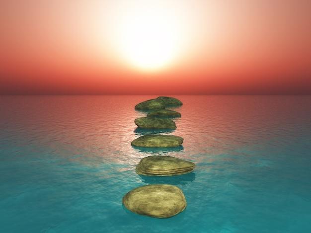 Pierres de progression 3d dans un coucher de soleil sur l'océan