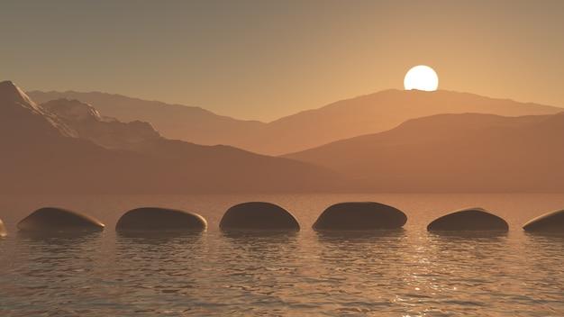 Pierres de progression 3d dans l'océan contre un paysage de montagne au coucher du soleil